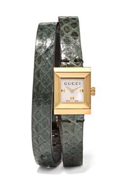 ساعة ماركة Gucci Elaphe and Gold-Tone Watch