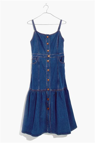 فستان جينز ماركة Madewell Denim Bayview Tiered Mi